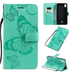 Embossing 3D Butterfly Leather Wallet Case for LG K20 (2019) - Green