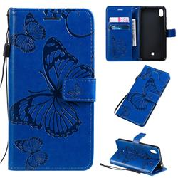Embossing 3D Butterfly Leather Wallet Case for LG K20 (2019) - Blue
