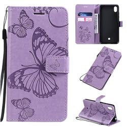 Embossing 3D Butterfly Leather Wallet Case for LG K20 (2019) - Purple