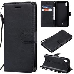 Retro Greek Classic Smooth PU Leather Wallet Phone Case for LG K20 (2019) - Black