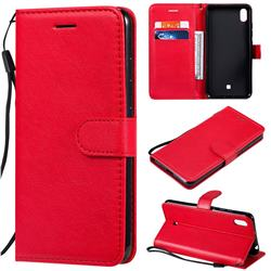 Retro Greek Classic Smooth PU Leather Wallet Phone Case for LG K20 (2019) - Red
