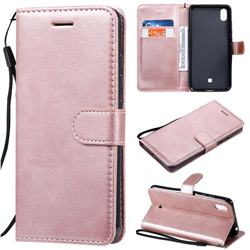 Retro Greek Classic Smooth PU Leather Wallet Phone Case for LG K20 (2019) - Rose Gold