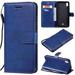 Retro Greek Classic Smooth PU Leather Wallet Phone Case for LG K20 (2019) - Blue