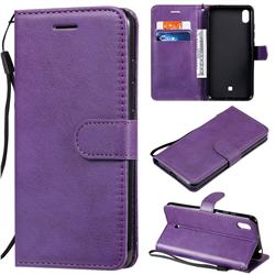 Retro Greek Classic Smooth PU Leather Wallet Phone Case for LG K20 (2019) - Purple