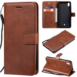 Retro Greek Classic Smooth PU Leather Wallet Phone Case for LG K20 (2019) - Brown