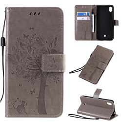 Embossing Butterfly Tree Leather Wallet Case for LG K20 (2019) - Grey
