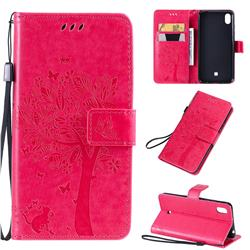Embossing Butterfly Tree Leather Wallet Case for LG K20 (2019) - Rose