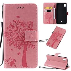 Embossing Butterfly Tree Leather Wallet Case for LG K20 (2019) - Pink
