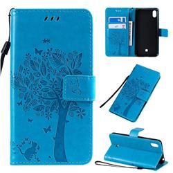 Embossing Butterfly Tree Leather Wallet Case for LG K20 (2019) - Blue