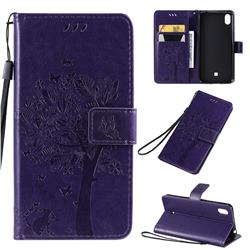 Embossing Butterfly Tree Leather Wallet Case for LG K20 (2019) - Purple