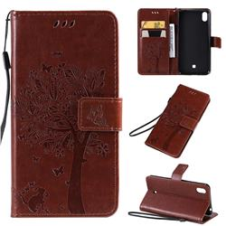 Embossing Butterfly Tree Leather Wallet Case for LG K20 (2019) - Coffee