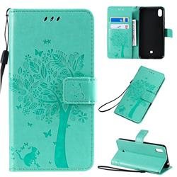 Embossing Butterfly Tree Leather Wallet Case for LG K20 (2019) - Cyan