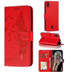 Intricate Embossing Lychee Feather Bird Leather Wallet Case for LG K20 (2019) - Red