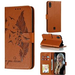 Intricate Embossing Lychee Feather Bird Leather Wallet Case for LG K20 (2019) - Brown