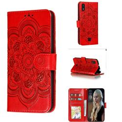 Intricate Embossing Datura Solar Leather Wallet Case for LG K20 (2019) - Red