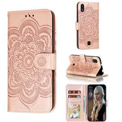 Intricate Embossing Datura Solar Leather Wallet Case for LG K20 (2019) - Rose Gold