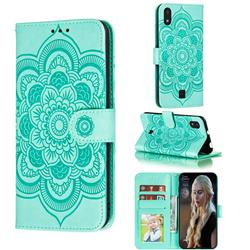 Intricate Embossing Datura Solar Leather Wallet Case for LG K20 (2019) - Green