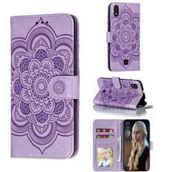 Intricate Embossing Datura Solar Leather Wallet Case for LG K20 (2019) - Purple