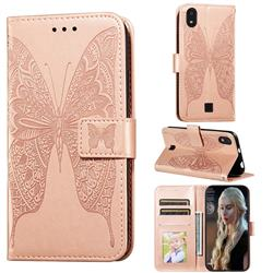 Intricate Embossing Vivid Butterfly Leather Wallet Case for LG K20 (2019) - Rose Gold