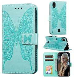 Intricate Embossing Vivid Butterfly Leather Wallet Case for LG K20 (2019) - Green
