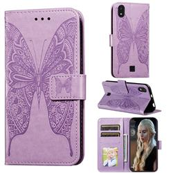 Intricate Embossing Vivid Butterfly Leather Wallet Case for LG K20 (2019) - Purple