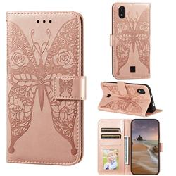 Intricate Embossing Rose Flower Butterfly Leather Wallet Case for LG K20 (2019) - Rose Gold