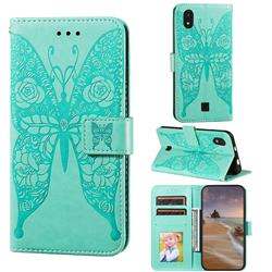 Intricate Embossing Rose Flower Butterfly Leather Wallet Case for LG K20 (2019) - Green