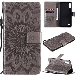 Embossing Sunflower Leather Wallet Case for LG K22 / K22 Plus - Gray