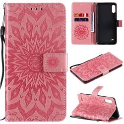 Embossing Sunflower Leather Wallet Case for LG K22 / K22 Plus - Pink