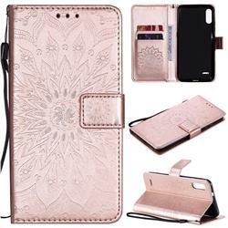 Embossing Sunflower Leather Wallet Case for LG K22 / K22 Plus - Rose Gold