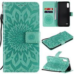 Embossing Sunflower Leather Wallet Case for LG K22 / K22 Plus - Green