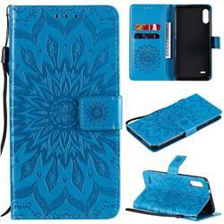 Embossing Sunflower Leather Wallet Case for LG K22 / K22 Plus - Blue