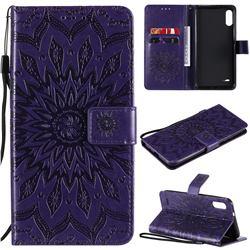 Embossing Sunflower Leather Wallet Case for LG K22 / K22 Plus - Purple