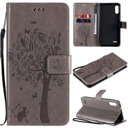 Embossing Butterfly Tree Leather Wallet Case for LG K22 / K22 Plus - Grey