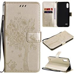 Embossing Butterfly Tree Leather Wallet Case for LG K22 / K22 Plus - Champagne