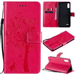 Embossing Butterfly Tree Leather Wallet Case for LG K22 / K22 Plus - Rose