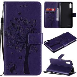 Embossing Butterfly Tree Leather Wallet Case for LG K22 / K22 Plus - Purple