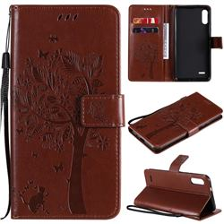 Embossing Butterfly Tree Leather Wallet Case for LG K22 / K22 Plus - Coffee
