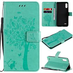 Embossing Butterfly Tree Leather Wallet Case for LG K22 / K22 Plus - Cyan