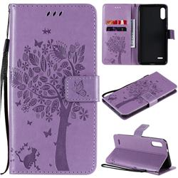 Embossing Butterfly Tree Leather Wallet Case for LG K22 / K22 Plus - Violet