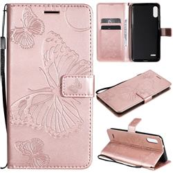 Embossing 3D Butterfly Leather Wallet Case for LG K22 / K22 Plus - Rose Gold