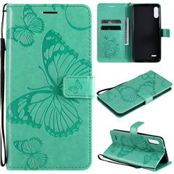 Embossing 3D Butterfly Leather Wallet Case for LG K22 / K22 Plus - Green