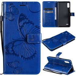 Embossing 3D Butterfly Leather Wallet Case for LG K22 / K22 Plus - Blue