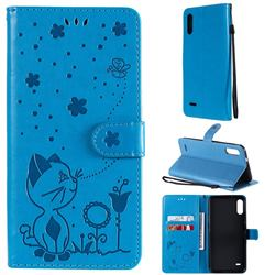 Embossing Bee and Cat Leather Wallet Case for LG K22 / K22 Plus - Blue