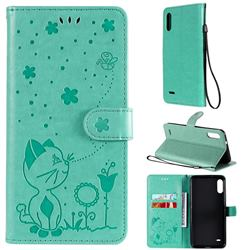 Embossing Bee and Cat Leather Wallet Case for LG K22 / K22 Plus - Green