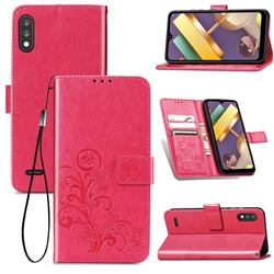 Embossing Imprint Four-Leaf Clover Leather Wallet Case for LG K22 / K22 Plus - Rose Red
