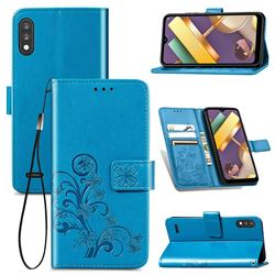 Embossing Imprint Four-Leaf Clover Leather Wallet Case for LG K22 / K22 Plus - Blue