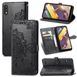 Embossing Imprint Mandala Flower Leather Wallet Case for LG K22 / K22 Plus - Black