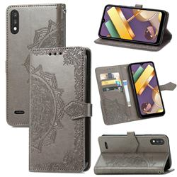 Embossing Imprint Mandala Flower Leather Wallet Case for LG K22 / K22 Plus - Gray