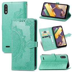 Embossing Imprint Mandala Flower Leather Wallet Case for LG K22 / K22 Plus - Green